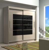 Skříň s posuvnými dveřmi Toro 180cm dub sonoma černá sklo