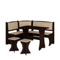 Jídelní set /kuchyňská lavice, sestava rohová) s taburety dub sonoma tmavá