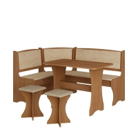 Jídelní set /kuchyňská lavice, sestava rohová) s taburety olše