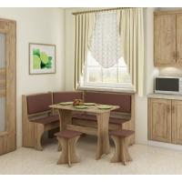 Jídelní set /kuchyňská lavice, sestava rohová) s taburety craft zlatý