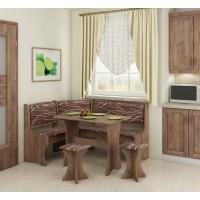 Jídelní set /kuchyňská lavice, sestava rohová) s taburety craft tobaco