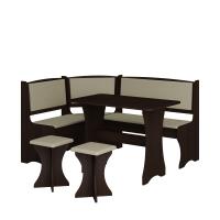 Jídelní set /kuchyňská lavice, sestava rohová) s taburety dub sonoma tmavá, eko béžová