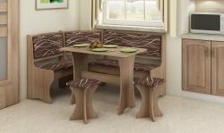 Jídelní set /kuchyňská lavice, sestava rohová) s taburety dub sonoma světlá